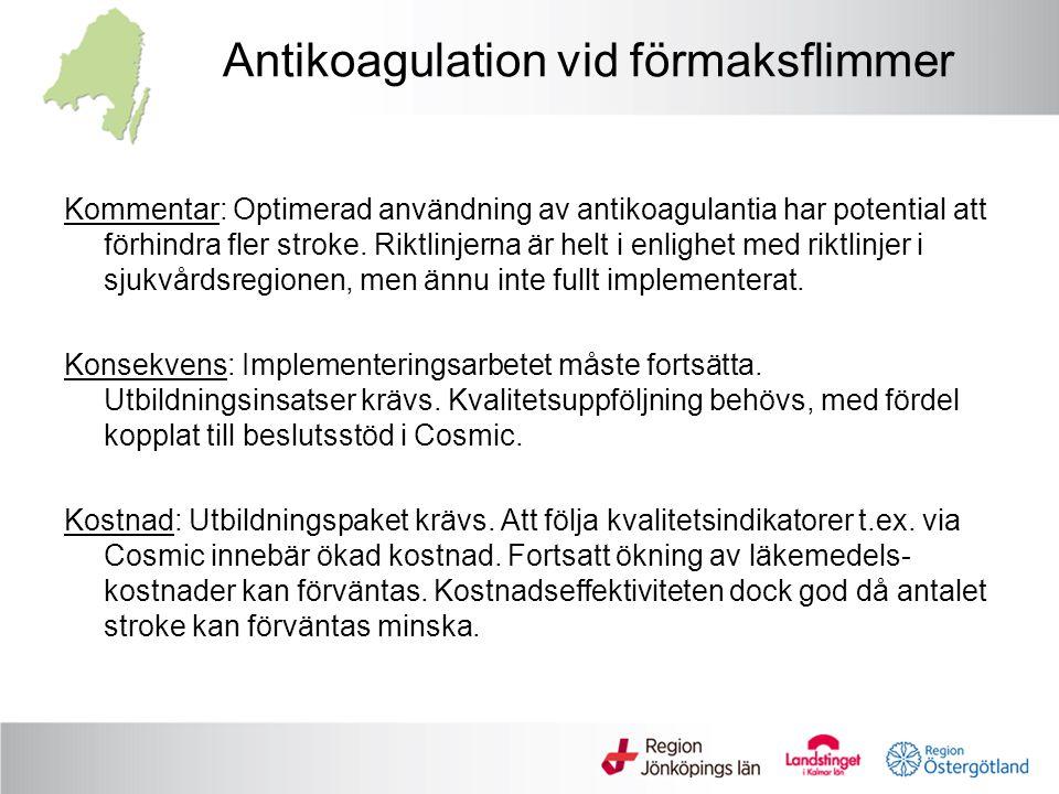 Antikoagulation vid förmaksflimmer Kommentar: Optimerad användning av antikoagulantia har potential att förhindra fler stroke. Riktlinjerna är helt i