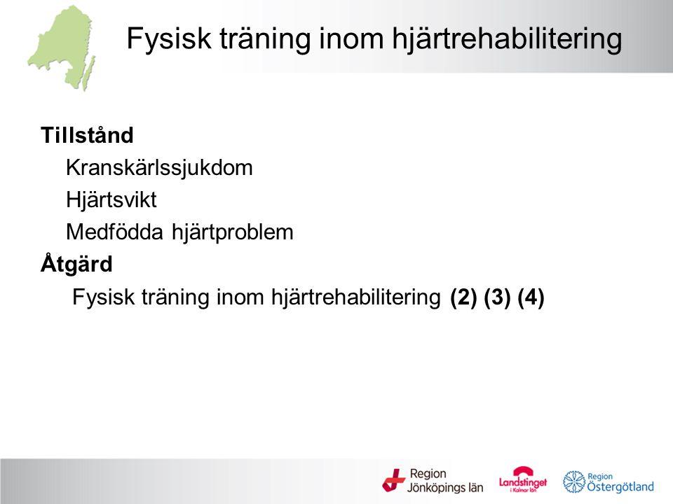 Fysisk träning inom hjärtrehabilitering Tillstånd Kranskärlssjukdom Hjärtsvikt Medfödda hjärtproblem Åtgärd Fysisk träning inom hjärtrehabilitering (2