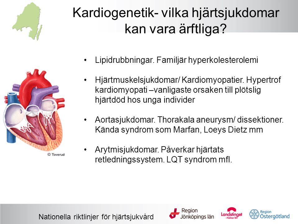Kardiogenetik- vilka hjärtsjukdomar kan vara ärftliga? Nationella riktlinjer för hjärtsjukvård Lipidrubbningar. Familjär hyperkolesterolemi Hjärtmuske