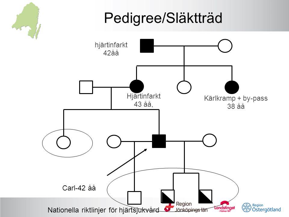 Pedigree/Släktträd hjärtinfarkt 42åå Kärlkramp + by-pass 38 åå Hjärtinfarkt 43 åå, Carl-42 åå Nationella riktlinjer för hjärtsjukvård