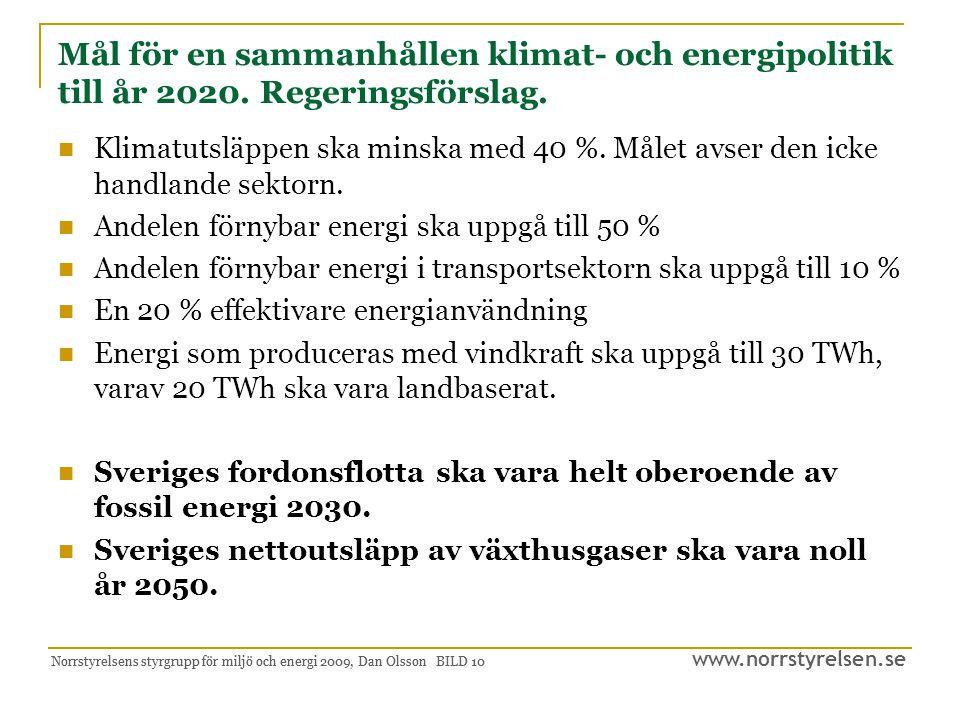 www.norrstyrelsen.se Norrstyrelsens styrgrupp för miljö och energi 2009, Dan Olsson BILD 11 Miljö- och energi, Fas II Vi har miljön för energi och energi för miljön