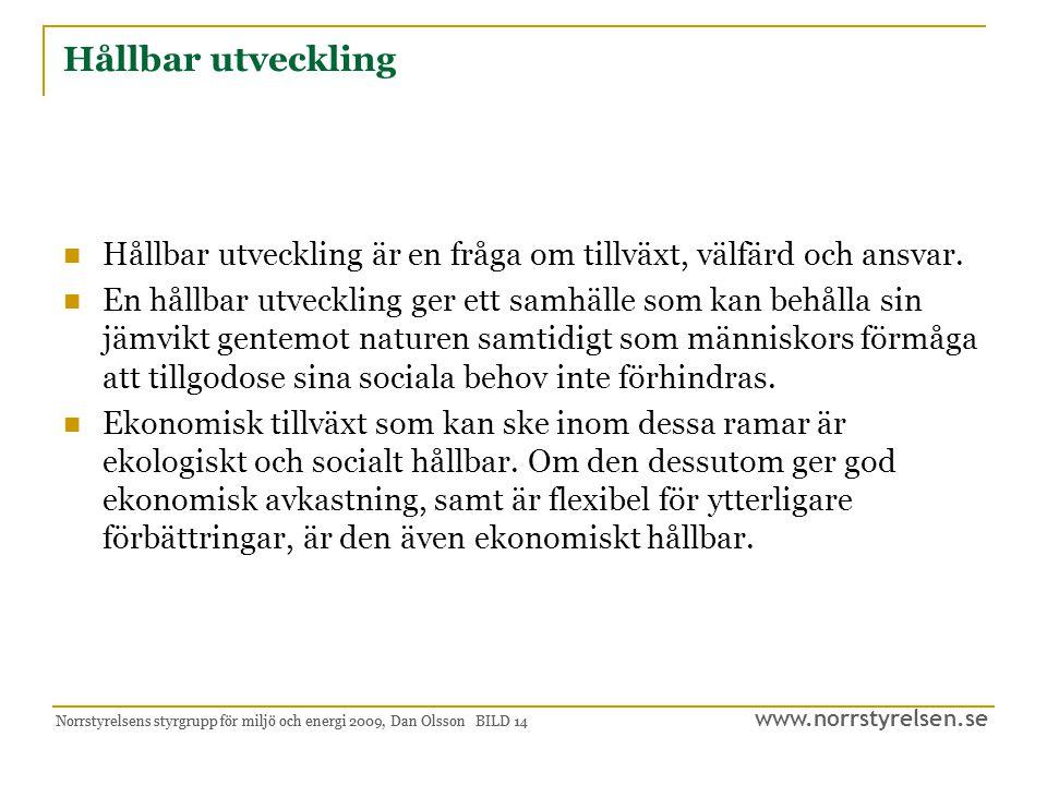 www.norrstyrelsen.se Norrstyrelsens styrgrupp för miljö och energi 2009, Dan Olsson BILD 15 Inriktningsmål Inom hållbar ekonomisk tillväxt Skapa förutsättningar så att företag inom energi- och miljöteknik kan utvecklas och etableras samt verka i Region Norrland.