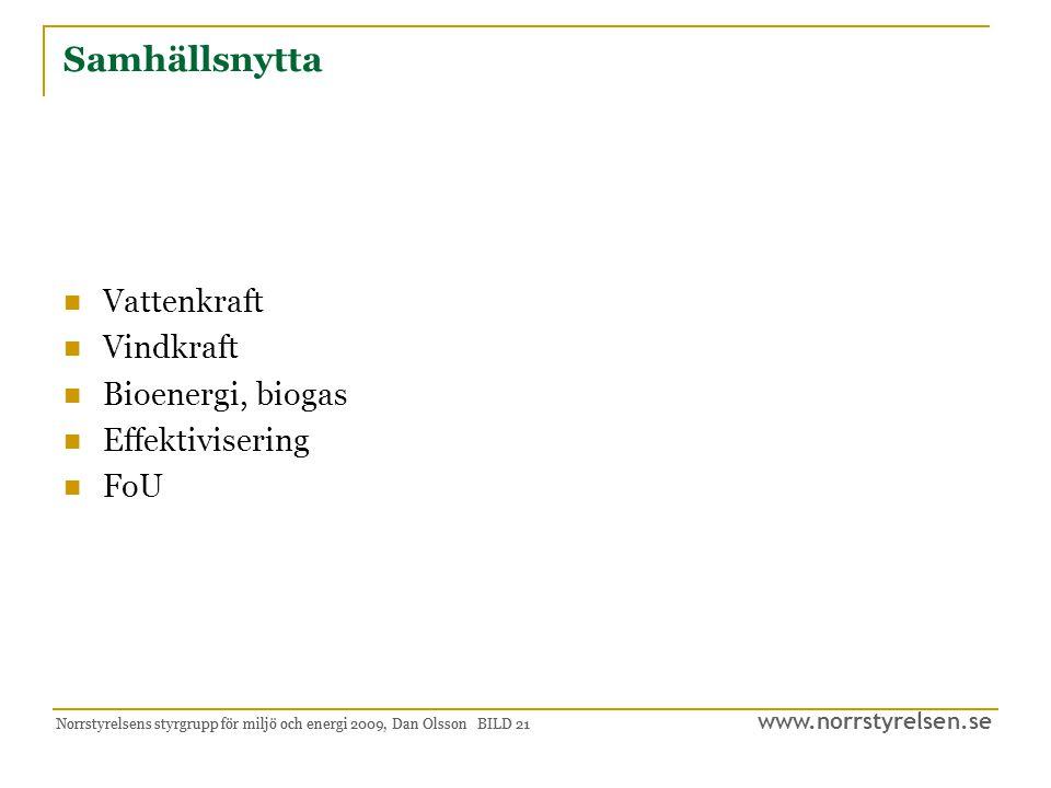www.norrstyrelsen.se Norrstyrelsens styrgrupp för miljö och energi 2009, Dan Olsson BILD 22 Klimateffektivitet Hållbar ekonomisk tillväxt Hållbara transporter Hållbar regional utvecklingsplanering