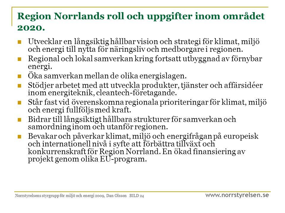 www.norrstyrelsen.se Norrstyrelsens styrgrupp för miljö och energi 2009, Dan Olsson BILD 25 Framtida möjligheter till ansvarsområden 2020 Region Norrland har en tydlig roll i dialogen kring den fysiska planeringen med inriktning på klimat, miljö och energi.