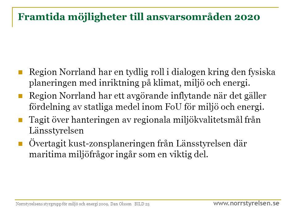 www.norrstyrelsen.se Norrstyrelsens styrgrupp för miljö och energi 2009, Dan Olsson BILD 26 Avslutande synpunkter Regioner som samlas kring en gemensam vision eller strategisk idé har goda förutsättningar.