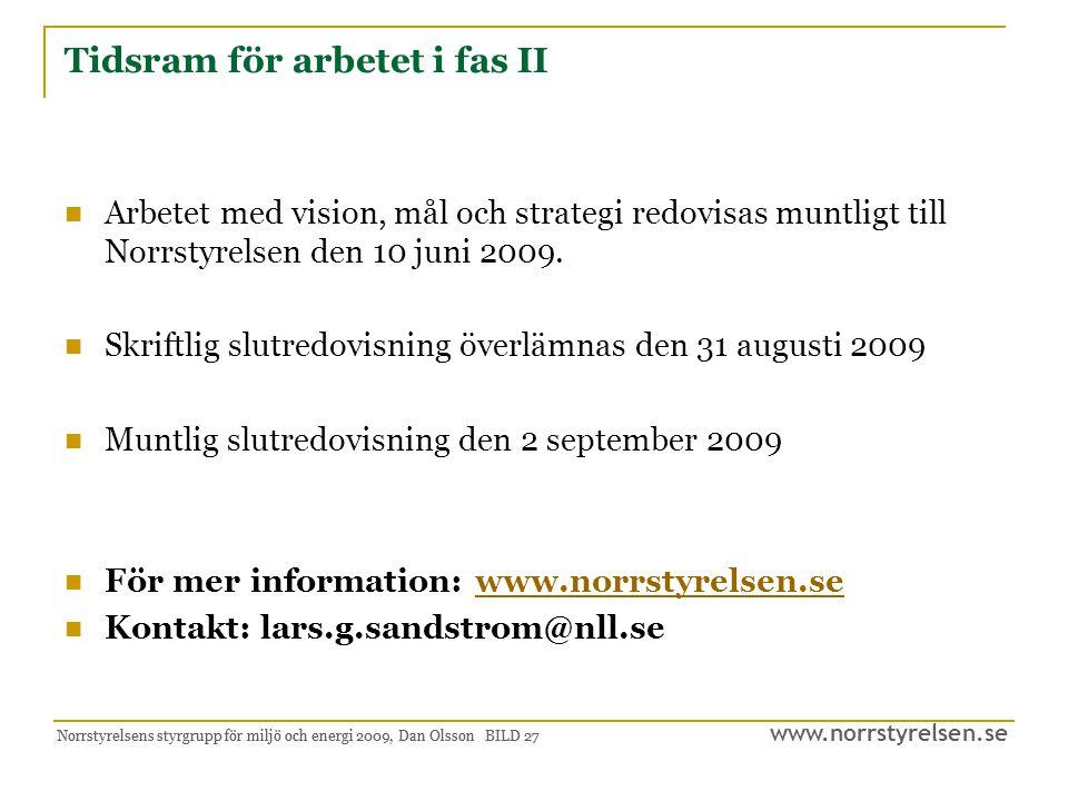www.norrstyrelsen.se Norrstyrelsens styrgrupp för miljö och energi 2009, Dan Olsson BILD 27 Tidsram för arbetet i fas II Arbetet med vision, mål och s