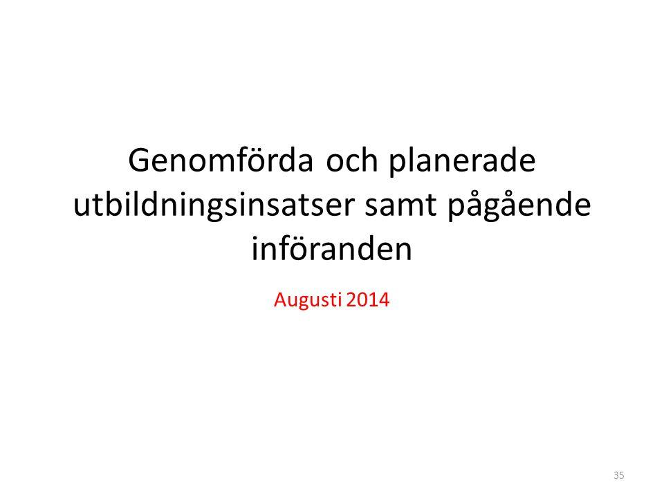 Genomförda och planerade utbildningsinsatser samt pågående införanden Augusti 2014 35