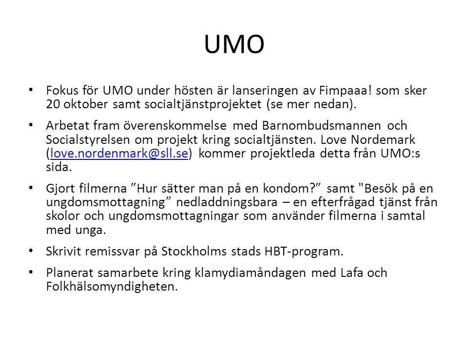 UMO Fokus för UMO under hösten är lanseringen av Fimpaaa! som sker 20 oktober samt socialtjänstprojektet (se mer nedan). Arbetat fram överenskommelse
