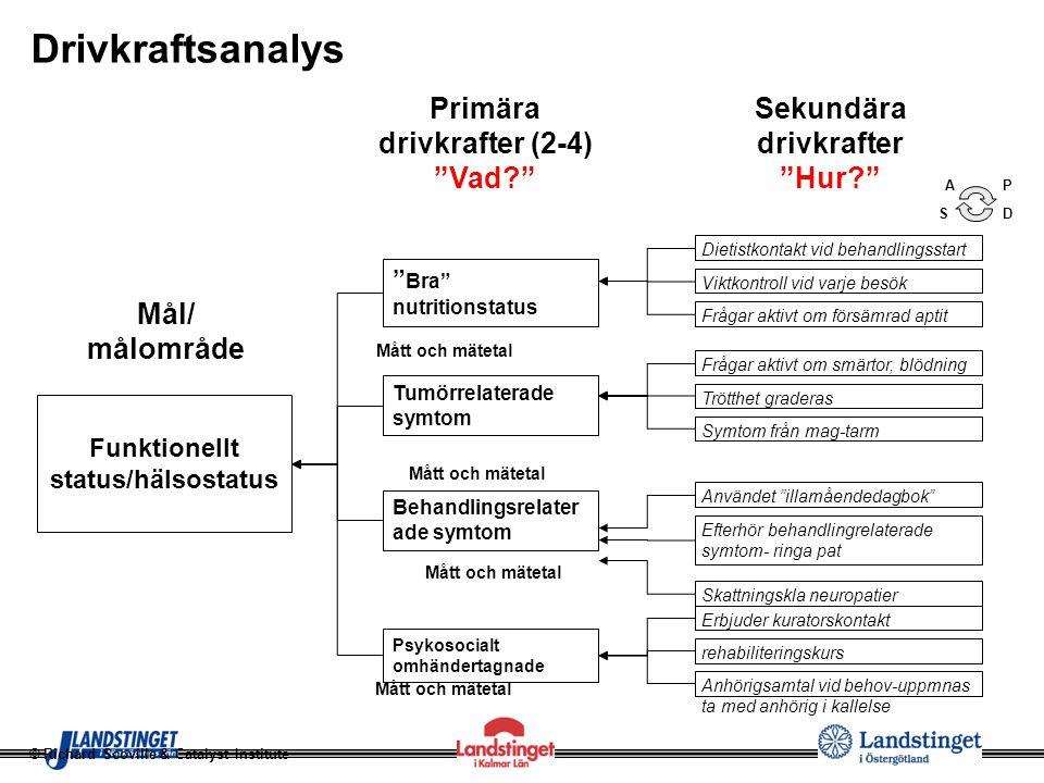 """Mål/ målområde """" Bra"""" nutritionstatus Drivkraftsanalys Funktionellt status/hälsostatus Tumörrelaterade symtom Psykosocialt omhändertagnade Primära dri"""