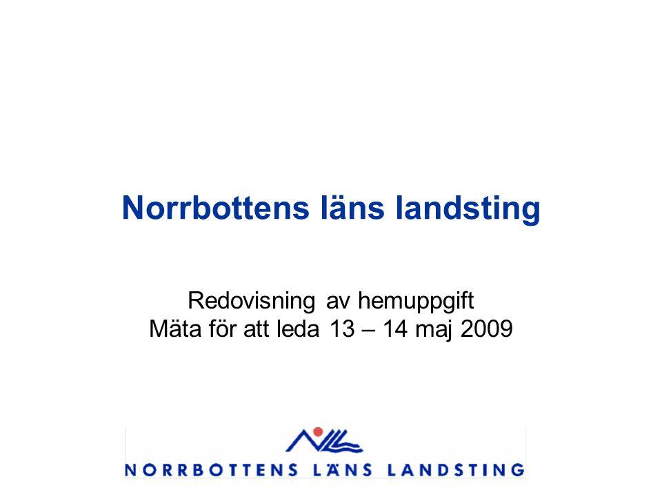 Norrbottens läns landsting Redovisning av hemuppgift Mäta för att leda 13 – 14 maj 2009