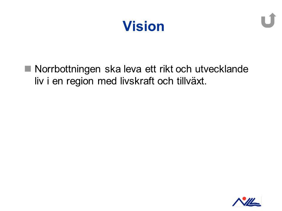 Vision Norrbottningen ska leva ett rikt och utvecklande liv i en region med livskraft och tillväxt.