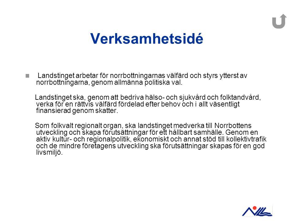 Verksamhetsidé Landstinget arbetar för norrbottningarnas välfärd och styrs ytterst av norrbottningarna, genom allmänna politiska val. Landstinget ska,