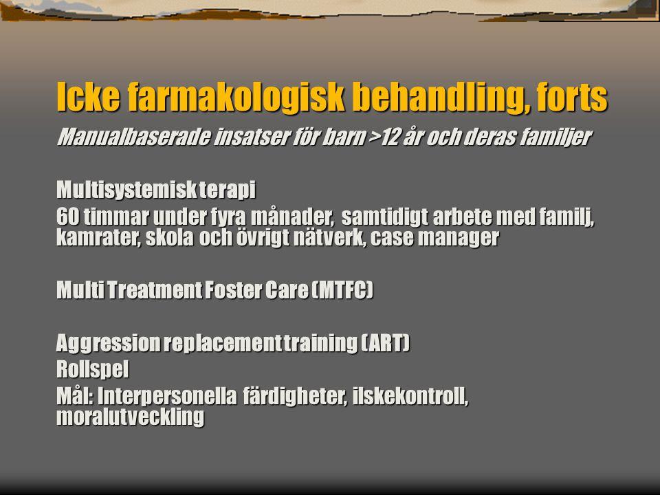 Farmakologisk behandling Förberedelser Information Försiktig insättning Uppföljning
