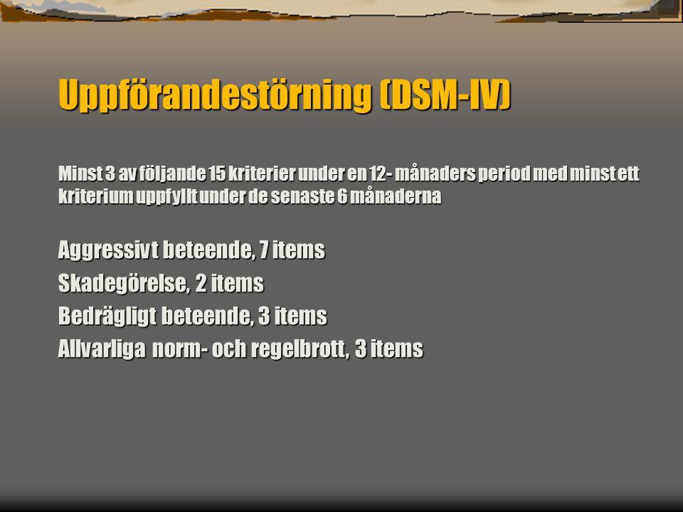 Uppförandestörning (DSM-IV) Minst 3 av följande 15 kriterier under en 12- månaders period med minst ett kriterium uppfyllt under de senaste 6 månaderna Aggressivt beteende, 7 items Skadegörelse, 2 items Bedrägligt beteende, 3 items Allvarliga norm- och regelbrott, 3 items