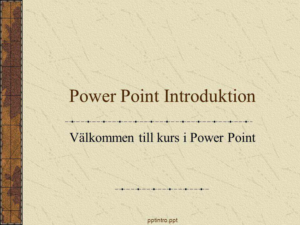 pptintro.ppt Introduktion Starta Power Point Skärmens utseende Verktygsfälten Visningslägen