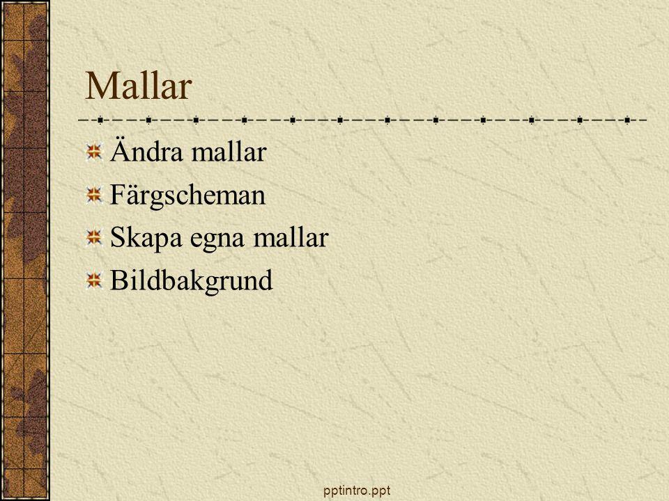 pptintro.ppt Mallar Ändra mallar Färgscheman Skapa egna mallar Bildbakgrund