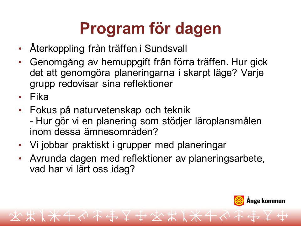 Program för dagen Återkoppling från träffen i Sundsvall Genomgång av hemuppgift från förra träffen.