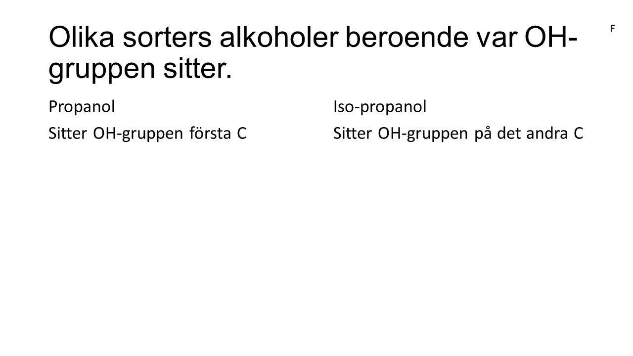 Olika sorters alkoholer beroende var OH- gruppen sitter. PropanolIso-propanol Sitter OH-gruppen första CSitter OH-gruppen på det andra C F