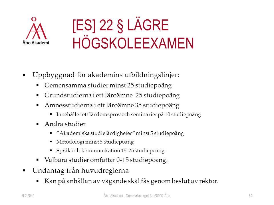  Uppbyggnad för akademins utbildningslinjer:  Gemensamma studier minst 25 studiepoäng  Grundstudierna i ett läroämne 25 studiepoäng  Ämnesstudiern