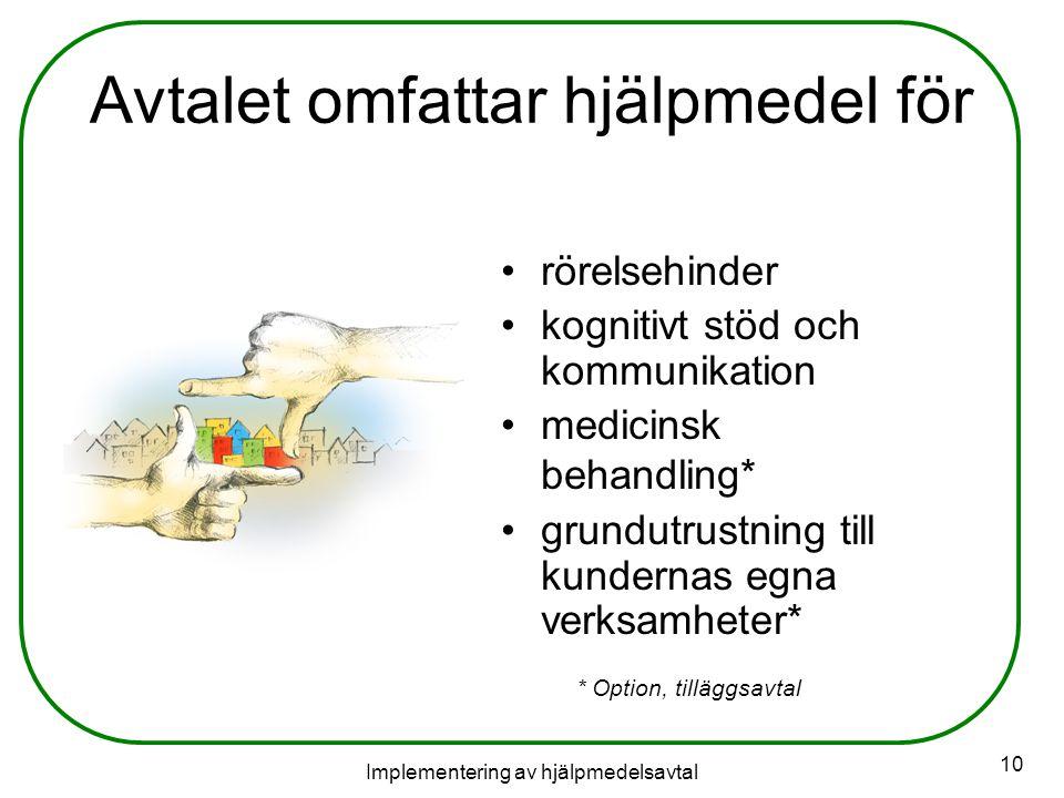 Implementering av hjälpmedelsavtal 10 Avtalet omfattar hjälpmedel för rörelsehinder kognitivt stöd och kommunikation medicinsk behandling* grundutrustning till kundernas egna verksamheter* * Option, tilläggsavtal