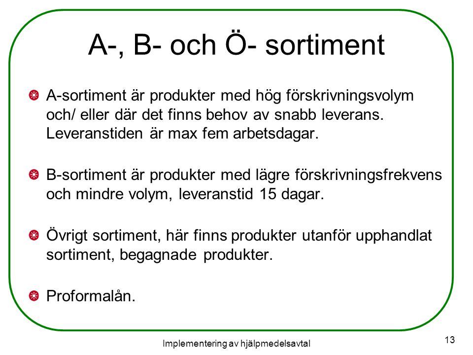 Implementering av hjälpmedelsavtal 13 A-, B- och Ö- sortiment A-sortiment är produkter med hög förskrivningsvolym och/ eller där det finns behov av snabb leverans.
