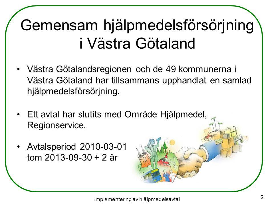 Implementering av hjälpmedelsavtal 2 Gemensam hjälpmedelsförsörjning i Västra Götaland Västra Götalandsregionen och de 49 kommunerna i Västra Götaland har tillsammans upphandlat en samlad hjälpmedelsförsörjning.