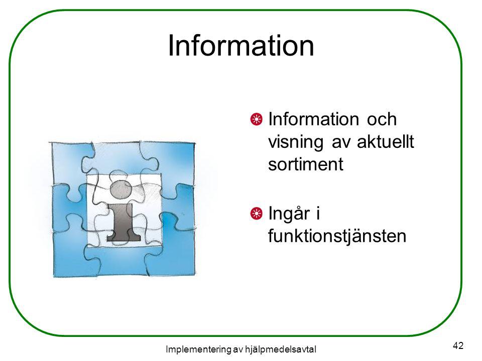 Implementering av hjälpmedelsavtal 42 Information Information och visning av aktuellt sortiment Ingår i funktionstjänsten