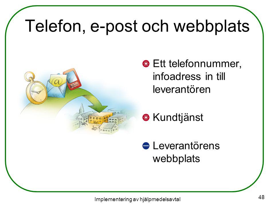 Implementering av hjälpmedelsavtal 48 Telefon, e-post och webbplats Ett telefonnummer, infoadress in till leverantören Kundtjänst Leverantörens webbplats