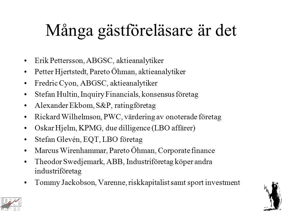 Många gästföreläsare är det Erik Pettersson, ABGSC, aktieanalytiker Petter Hjertstedt, Pareto Öhman, aktieanalytiker Fredric Cyon, ABGSC, aktieanalyti