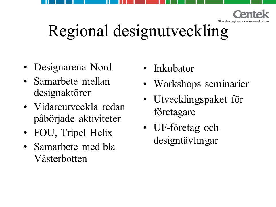 Regional designutveckling Designarena Nord Samarbete mellan designaktörer Vidareutveckla redan påbörjade aktiviteter FOU, Tripel Helix Samarbete med bla Västerbotten Inkubator Workshops seminarier Utvecklingspaket för företagare UF-företag och designtävlingar