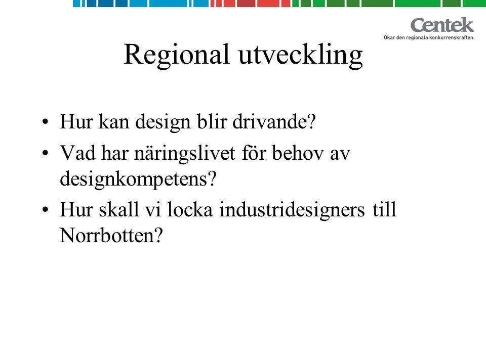 Regional utveckling Hur kan design blir drivande.
