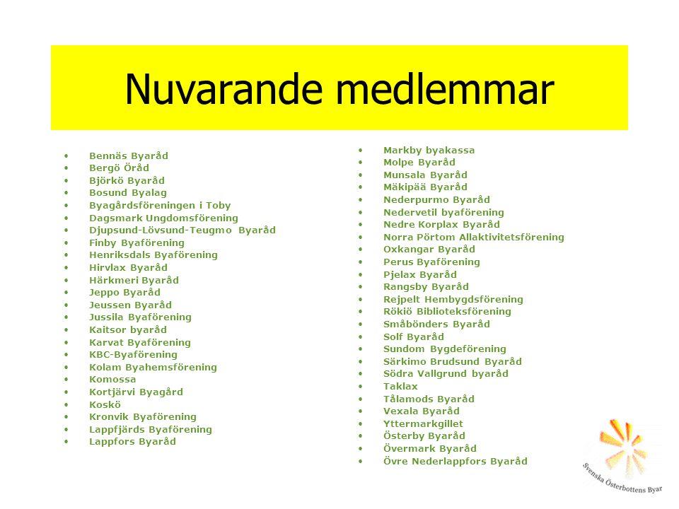 Nuvarande medlemmar Bennäs Byaråd Bergö Öråd Björkö Byaråd Bosund Byalag Byagårdsföreningen i Toby Dagsmark Ungdomsförening Djupsund-Lövsund-Teugmo By