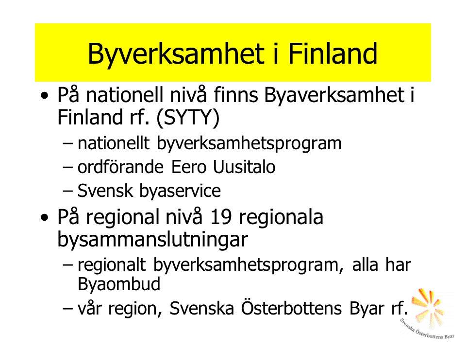 På bynivå I Finland 2300 registrerade byföreningar –byplaner - plan över byns utveckling –utvecklingsprojekt I Svenska Österbotten ca 100 aktiva byar –ca 60 byplaner –51 medlemmar i SÖB Bysamarbete inom den egna kommunen.