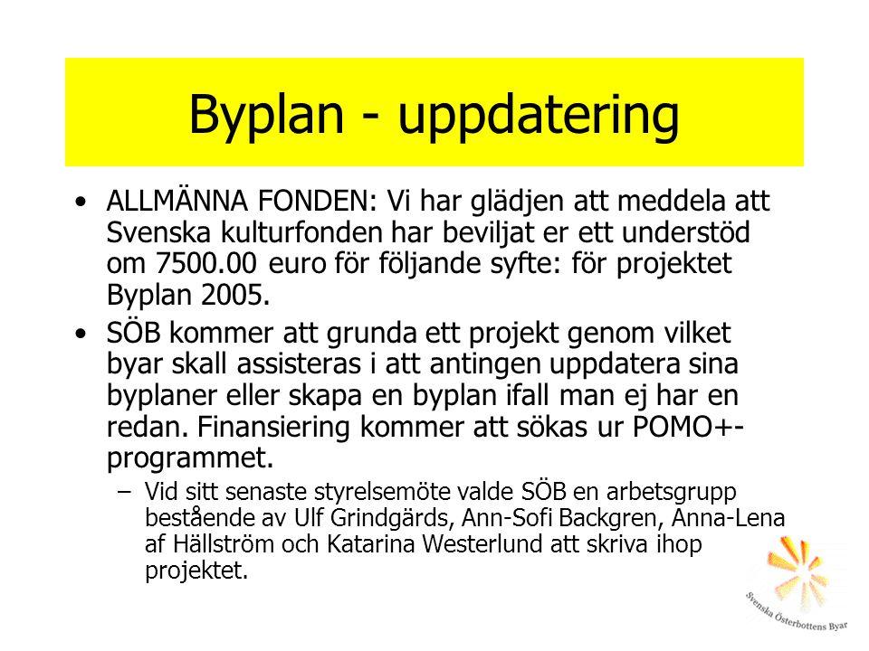Byplan - uppdatering ALLMÄNNA FONDEN: Vi har glädjen att meddela att Svenska kulturfonden har beviljat er ett understöd om 7500.00 euro för följande s