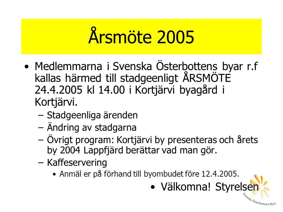 Årsmöte 2005 Medlemmarna i Svenska Österbottens byar r.f kallas härmed till stadgeenligt ÅRSMÖTE 24.4.2005 kl 14.00 i Kortjärvi byagård i Kortjärvi. –