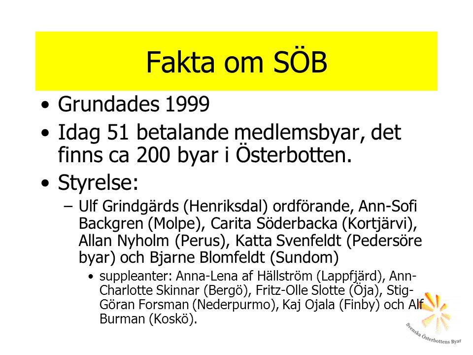 Fakta om SÖB Grundades 1999 Idag 51 betalande medlemsbyar, det finns ca 200 byar i Österbotten. Styrelse: –Ulf Grindgärds (Henriksdal) ordförande, Ann