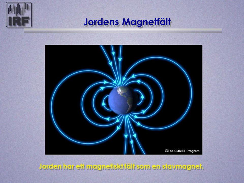 Jordens Magnetfält Jorden har ett magnetiskt fält som en stavmagnet. Jorden har ett magnetiskt fält som en stavmagnet.
