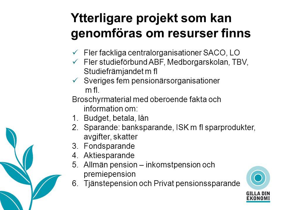 Vad är…… Ytterligare projekt som kan genomföras om resurser finns Fler fackliga centralorganisationer SACO, LO Fler studieförbund ABF, Medborgarskolan, TBV, Studiefrämjandet m fl Sveriges fem pensionärsorganisationer m fl.