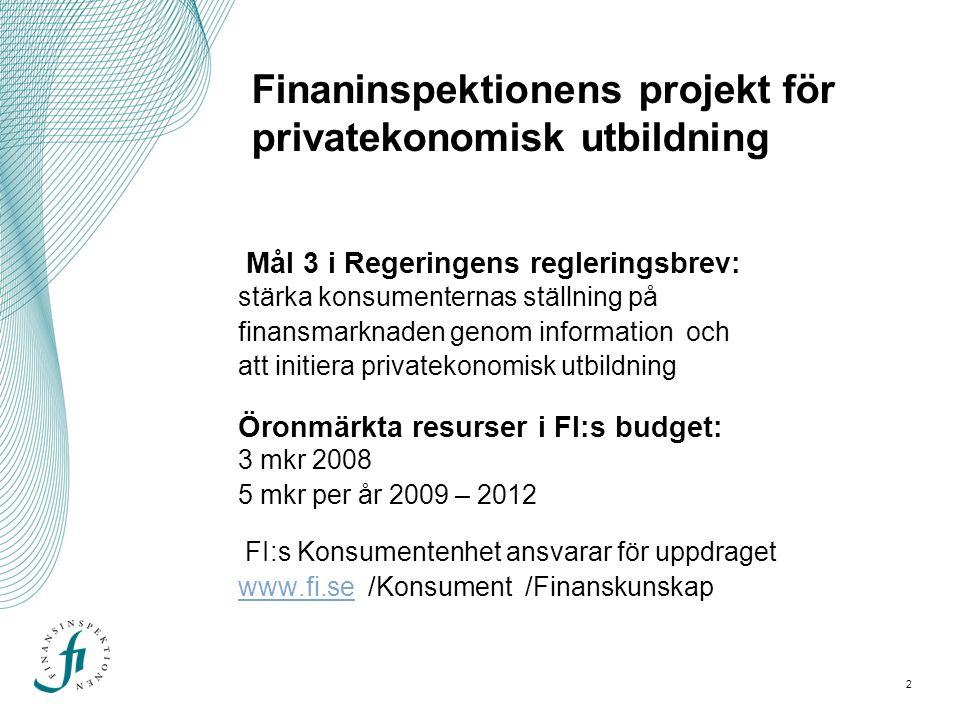 2 Finaninspektionens projekt för privatekonomisk utbildning Mål 3 i Regeringens regleringsbrev: stärka konsumenternas ställning på finansmarknaden genom information och att initiera privatekonomisk utbildning Öronmärkta resurser i FI:s budget: 3 mkr 2008 5 mkr per år 2009 – 2012 FI:s Konsumentenhet ansvarar för uppdraget www.fi.se /Konsument /Finanskunskap www.fi.se