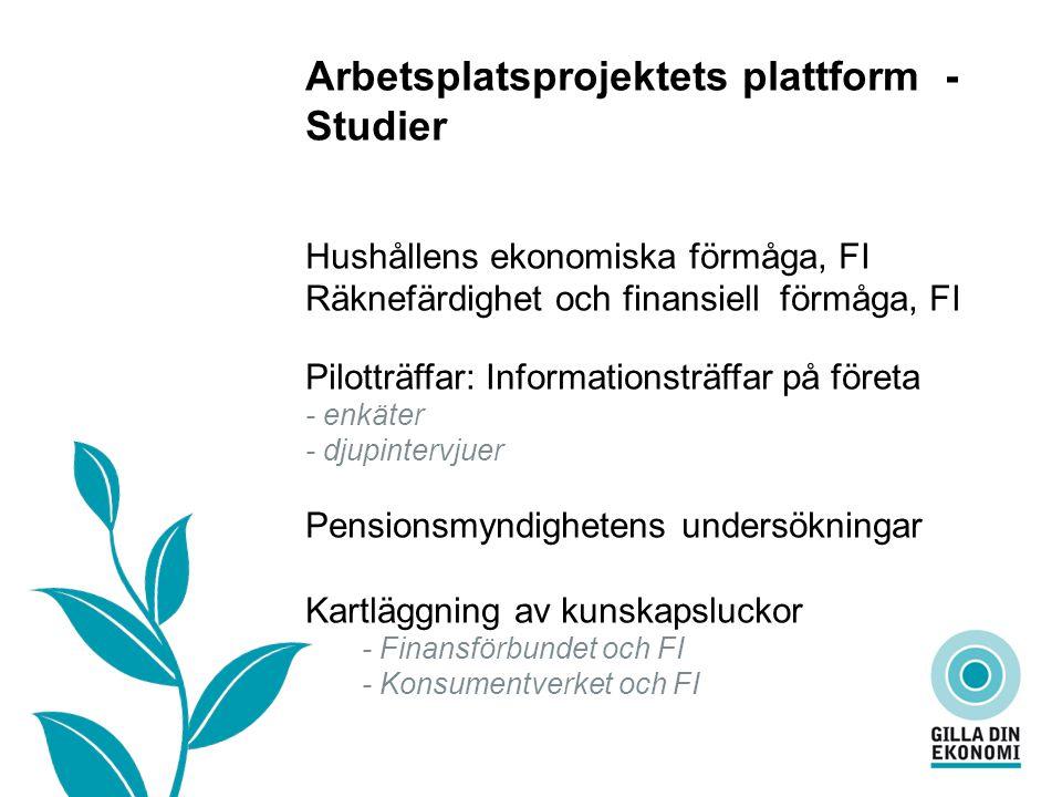 Vad är…… Arbetsplatsprojektets plattform - Studier Hushållens ekonomiska förmåga, FI Räknefärdighet och finansiell förmåga, FI Pilotträffar: Informationsträffar på företa - enkäter - djupintervjuer Pensionsmyndighetens undersökningar Kartläggning av kunskapsluckor - Finansförbundet och FI - Konsumentverket och FI