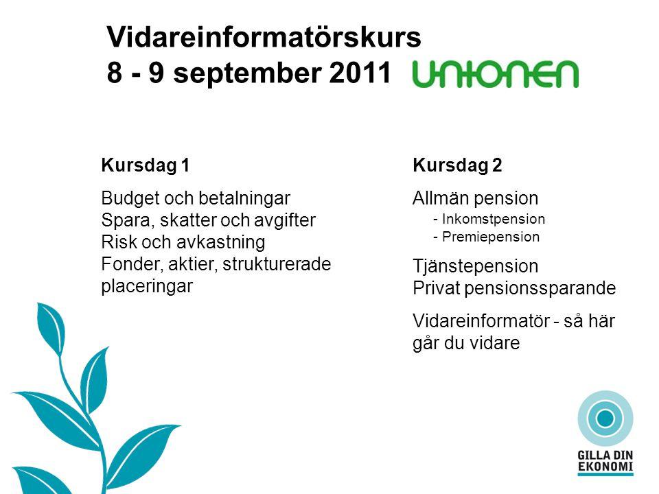 Vad är…… Vidareinformatörskurs 8 - 9 september 2011 Kursdag 2 Allmän pension - Inkomstpension - Premiepension Tjänstepension Privat pensionssparande V
