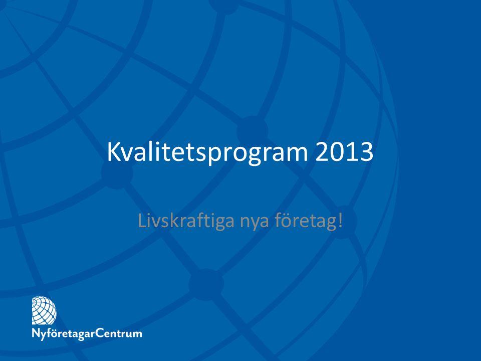 Kvalitetsprogram 2013 Livskraftiga nya företag!