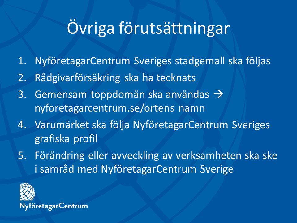 Övriga förutsättningar 1.NyföretagarCentrum Sveriges stadgemall ska följas 2.Rådgivarförsäkring ska ha tecknats 3.Gemensam toppdomän ska användas  nyforetagarcentrum.se/ortens namn 4.Varumärket ska följa NyföretagarCentrum Sveriges grafiska profil 5.Förändring eller avveckling av verksamheten ska ske i samråd med NyföretagarCentrum Sverige