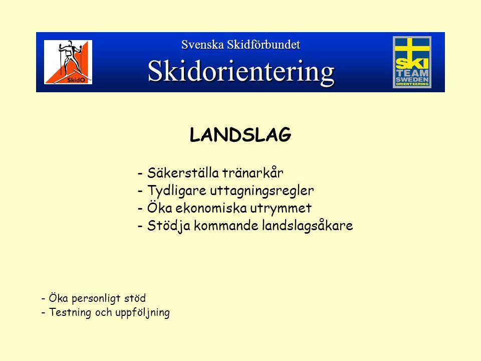LANDSLAG - Säkerställa tränarkår - Tydligare uttagningsregler - Öka ekonomiska utrymmet - Stödja kommande landslagsåkare - Öka personligt stöd - Testning och uppföljning Svenska Skidförbundet Skidorientering