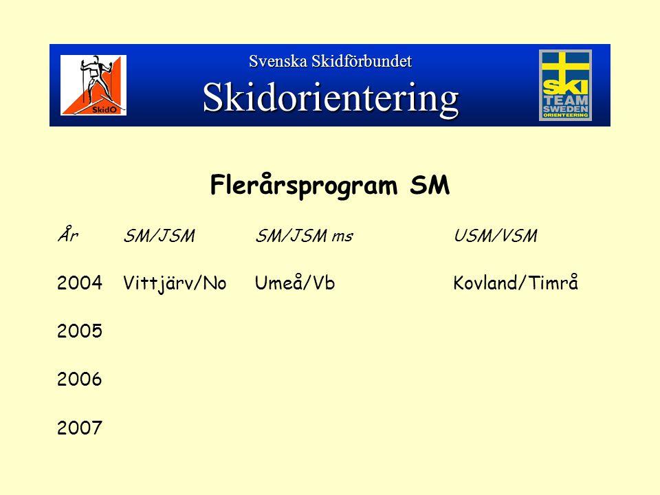 Flerårsprogram SM ÅrSM/JSMSM/JSM msUSM/VSM 2004Vittjärv/NoUmeå/VbKovland/Timrå 2005 2006 2007 Svenska Skidförbundet Skidorientering