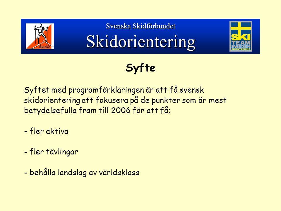 Syfte Syftet med programförklaringen är att få svensk skidorientering att fokusera på de punkter som är mest betydelsefulla fram till 2006 för att få; - fler aktiva - fler tävlingar - behålla landslag av världsklass Svenska Skidförbundet Skidorientering