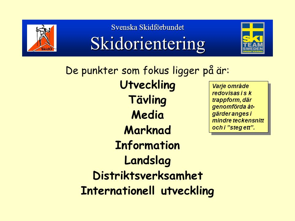 De punkter som fokus ligger på är: Utveckling Tävling Media Marknad Information Landslag Distriktsverksamhet Internationell utveckling Svenska Skidförbundet Skidorientering Varje område redovisas i s k trappform, där genomförda åt- gärder anges i mindre teckensnitt och i steg ett .