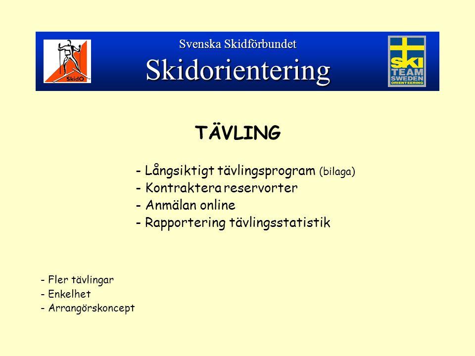 TÄVLING - Långsiktigt tävlingsprogram (bilaga) - Kontraktera reservorter - Anmälan online - Rapportering tävlingsstatistik - Fler tävlingar - Enkelhet - Arrangörskoncept Svenska Skidförbundet Skidorientering