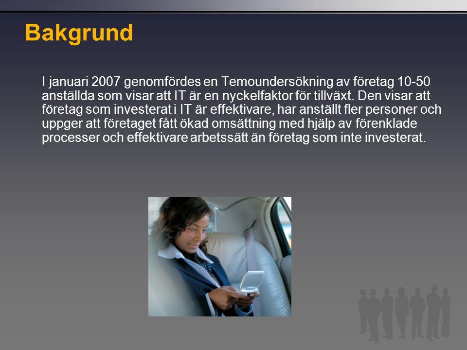 Bakgrund I januari 2007 genomfördes en Temoundersökning av företag 10-50 anställda som visar att IT är en nyckelfaktor för tillväxt.