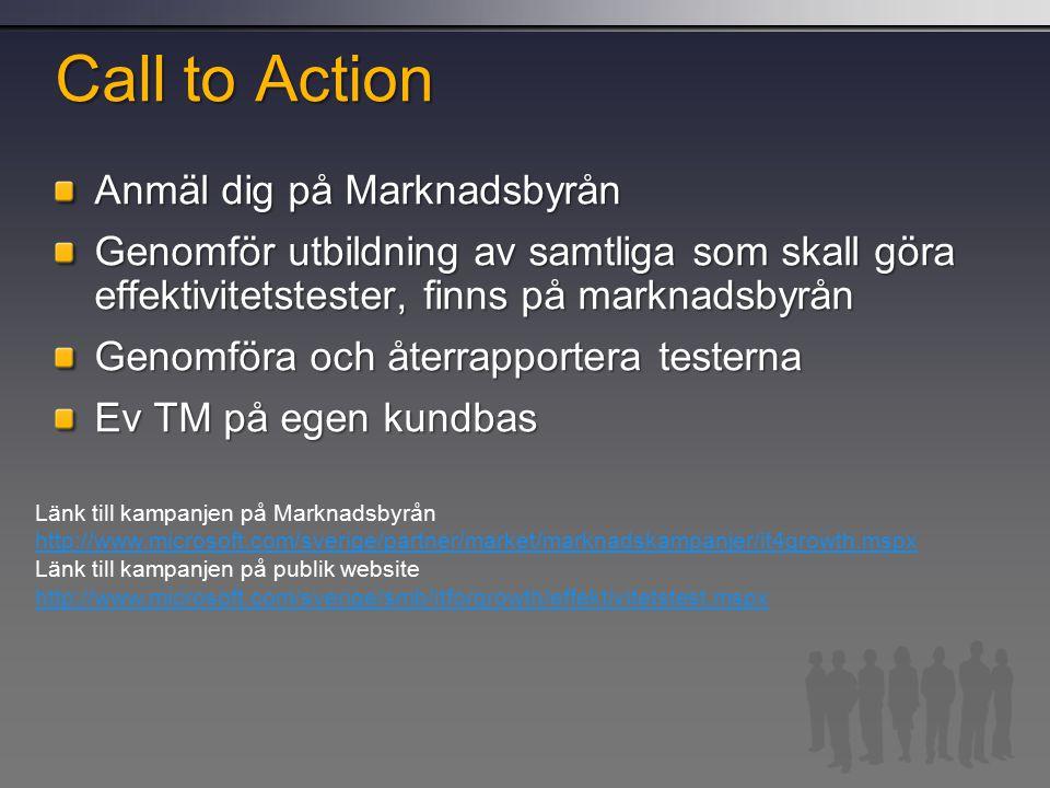 Call to Action Anmäl dig på Marknadsbyrån Genomför utbildning av samtliga som skall göra effektivitetstester, finns på marknadsbyrån Genomföra och återrapportera testerna Ev TM på egen kundbas Länk till kampanjen på Marknadsbyrån http://www.microsoft.com/sverige/partner/market/marknadskampanjer/it4growth.mspx Länk till kampanjen på publik website http://www.microsoft.com/sverige/smb/itforgrowth/effektivitetstest.mspx
